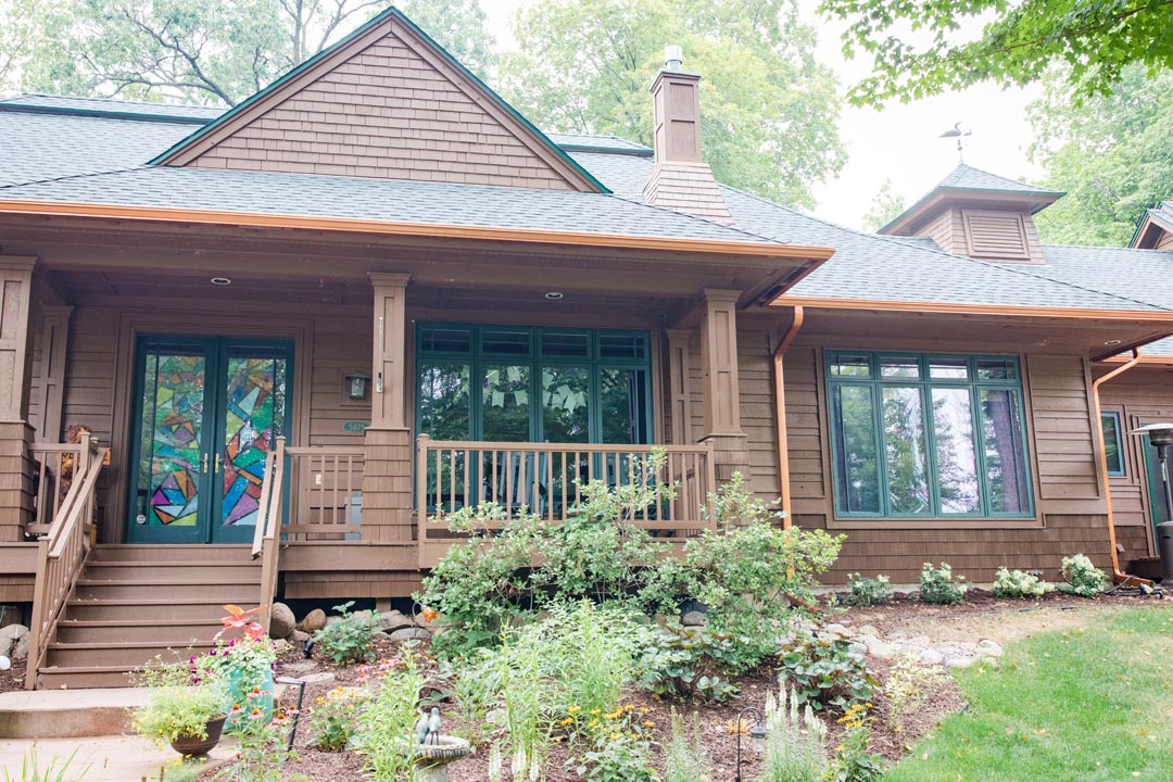 Copper Seamless Gutter Systems with Leafguards Installed by MN Leafless Gutters